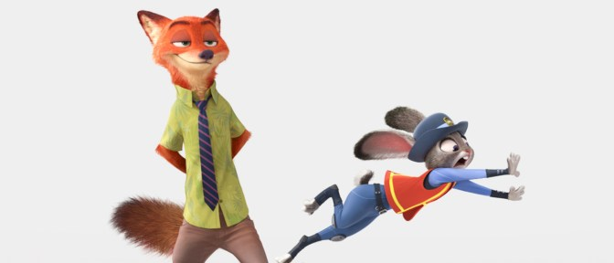 """ZOOTOPIA – Pictured (L-R): Nick Wilde, Judy Hopps. """"It's a nod to the great Disney animated animal films we all grew up with, but with a funny, contemporary twist,"""" said director Rich Moore (""""Wreck-It Ralph,"""" """"The Simpsons""""). """"Our artists and animators did tons of research to integrate true animal behaviors into each of our characters. The world of Zootopia is fantastic, infused with international flavor that will be relatable to everyone."""" ©2015 Disney. All Rights Reserved."""